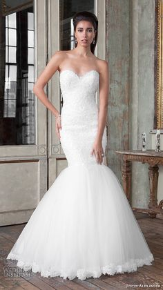 Justin Alexander Signature Spring 2016 Wedding Dresses | Wedding Inspirasi | Exquisite, Embroidered Lace Strapless Mermaid Silhouette Wedding Gown With Sweetheart Neckline, Silk Tulle Skirt, & Pretty Lace Trim Along The Hemline, Chapel Length Train; (Full/Front View)~~~~