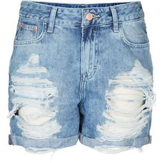 TOPSHOP MOTO Ripped Denim Boy Shorts ($68) ❤ liked on Polyvore featuring shorts, bottoms, topshop, pants, denim, bleach stone, topshop shorts, bleached shorts, distressed shorts and boy shorts