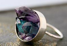 Mixed Crystal Keyhole Sterling Silver Ring- Amethyst, Aqua Aura Quartz, and…