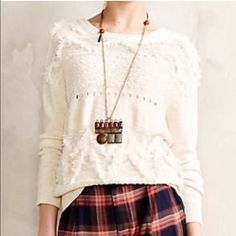 Anthropologie Sweater Anthropologie GORGEOUS White/Cream Sweater with fun fringe and details. Super cute, comfortable, and versatile! Great for all seasons.. endless styling possibilities. Excellent condition! True to size Small. Also great  for XS to wear oversized. Anthropologie Tops