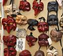 The many different masks used in commedia.