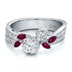 Unique Engagement Rings | ... Engagement Rings › Custom Marquise Ruby and Diamond Engagement Ring