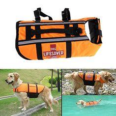 Puraid(TM) Orange Pet Dog Float Life Vest Jacket Aquatic Safety Saver Swimming Boating Vest For Dog ** For more information, visit image link.(It is Amazon affiliate link) #tweegram