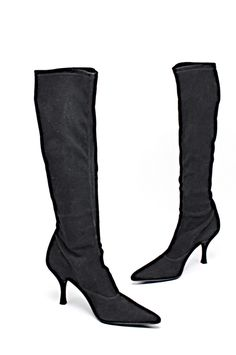 bd5eb29c76c STUART WEITZMAN Black Stretch Suede Knee High Kitten Heel Boots US7.5 M   StuartWeitzman  KneeHighBoots