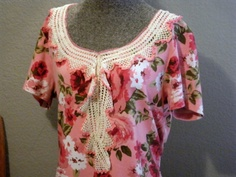 SOLD   Pink Roses Recycled Tee Shirt White Lace by SweetRepeatVintage