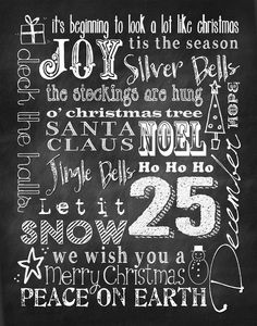 Smile Like You Mean it: Christmas Subway Art Revisited - Chalkboard Style