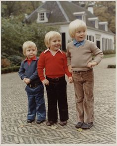 The Princes of the Netherlands - Prince Constantijn, Prince Johan Friso and Prince Willem-Alexander, 1970s.