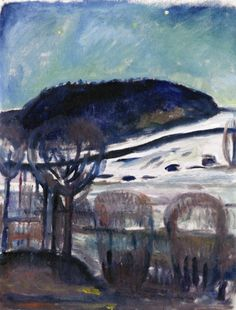 Edvard Munch, Ekely_ Winter Night 1919 / Oil on canvas / x 64 cm Harvard Art Museum, Busch-Reisinger Museum, Cambridge MA Edvard Munch, Great Paintings, Landscape Paintings, Van Gogh, Harvard Art Museum, Amedeo Modigliani, Post Impressionism, Art Moderne, Winter Night