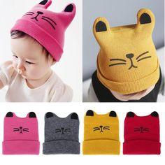 100115c8e90 Baby Hats Newborn Cartoon Knitting Cap Cat Ear Beanie Cap Infant Autumn  Winter W