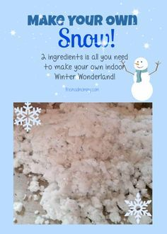 A quick and easy way to make your own snow for hours of indoor fun! 2 ingredients is all you need to make your own Winter Wonderland!