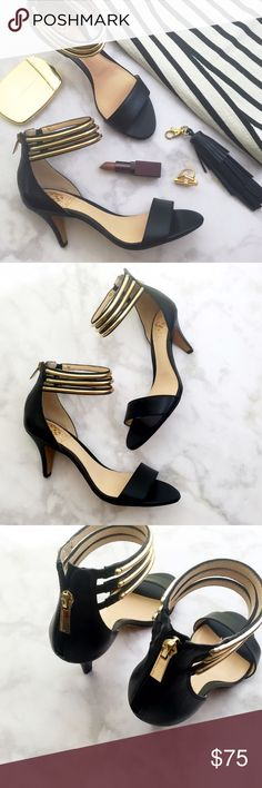 "Vince Camuto Metal Cuff Kitten Heel Sandals Details: • Size 7 • Leather • Gold hardware • Ankle straps have elastic insets • Back zip closure • 2.75"" heel • Brand new in box Vince Camuto Shoes Sandals"