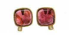 Pendientes turmalinas rubelita con diamantes talla princesa en oro 18 kts