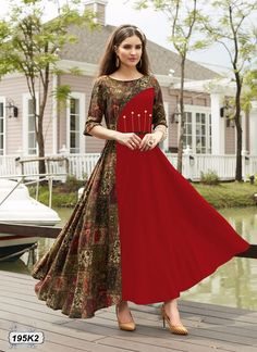 *Texstile Arena Presenting* To Designer Party Wear Dresses, Kurti Designs Party Wear, Indian Designer Outfits, Indian Gowns Dresses, Pakistani Dresses, Stylish Dresses, Fashion Dresses, Cotton Gowns, Dress Patterns