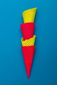 Neon ice cream cones