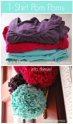 Turn old T-shirts into pretty Pom Poms! Such a neat way to reuse old tees. #t_shirt #pom_pom