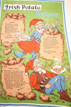 Vintage Linen Irish Recipe Tea Towel