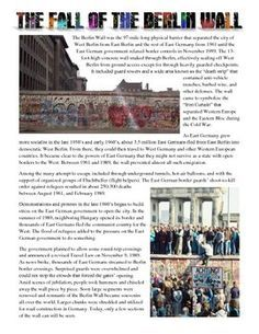 This fantastic resource features a 1 page reading the history of the Berlin Wall from when it was first built through its fall in 1989. Also included is a worksheet with answer key and Interactive Notebook page for students to cut out and create a wall with!