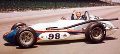 """1963 - Parnelli Jones' (#98) """"Agajanian's Willard Battery Special"""" Watson/Offenhauser Roadster.- Qualified 1st, Speed (151.153 mph) Finished 1st - Time of 3:29:35"""
