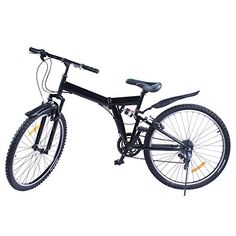 VEVOR Folding Mountain Bike 6 Speed Mountain Bike 26Inch Shimano Carbon Steel Folding Suspension Folding Bike Black (6 speed) ** Read more reviews of the product by visiting the link on the image.