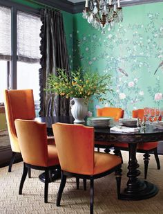 hot colors dining room