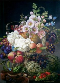 large classical fruit floral still life painting dutch masters basket abundance, painting by artist JEANNE ILLENYE