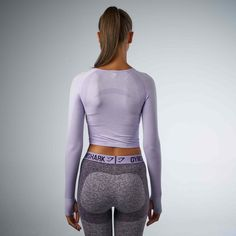 Gymshark Seamless Long Sleeve Crop Top - Soft Lilac Marl