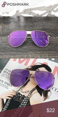 PURPLE MIRROR AVIATOR SUNGLASSES * Oversized fit aviators * Teardrop purple mirror lens * Lightweight gold metal frame  * Approximate Measurements: * Full Width 6in/ Side bar 6in * Individual lens: 2.5in L x 2.25in H * Internal use SG1-02PU* * Price Firm. Use BUY NOW button to purchase * All pictures are showing actual products. All pictures taken exclusively for Style Link Miami. Model is wearing this style but in pink Style Link Miami Accessories Sunglasses