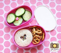 Cut-out circle sandwich with sprinkles.