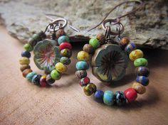 Ring Around the Posies  Rustic Bead Mix Hoops Surround Czech