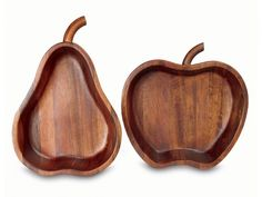 It's all apples and oranges. Or, in this case of these beautiful, fruit-shaped carved acacia bowls, apples and pears. Crafted in Thailand, each bowl. Intarsia Holz, Sculpture Metal, Dark Wood Kitchens, Dark Wood Floors, Diy Cutting Board, Wooden Plates, Wood Wallpaper, Wood Panel Walls, Wood Bowls