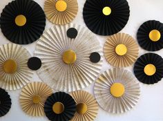 Black and gold paper fans backdrop/Wedding backdrop/Baby shower/Bridal shower/Birthday party/Dessert table/Engagement/Cake smash/Set of 20 Birthday Party Desserts, Birthday Parties, Paper Flower Wall, Paper Flowers, Centerpiece Decorations, Birthday Decorations, Paper Fans Wedding, Gold Dessert, Dessert Tables
