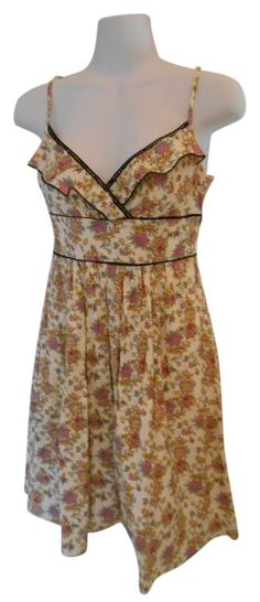 e6882ccfc98a Cream with Multi-colors Sundress Adjustable Straps Floral Print Cotton  Small 4 Short Casual Dress