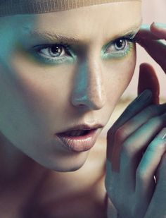 Marie Claire International - Daniella Midenge. Nude makeup and green shadow under eyes.