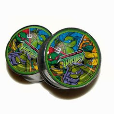 TMNT Plugs  1 Pair 2 plugs  Sizes 0g 00g 7/16 1/2 by GrudgePlugs, $18.95