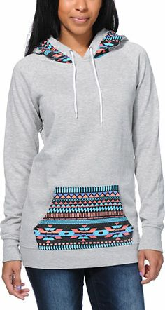 Empyre Girls Long Beach Tribal Print Grey Pullover Hoodie at Zumiez : PDP