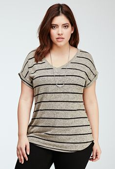 Striped Heathered Tee | FOREVER21 PLUS - 2000116299