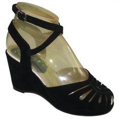 0cd6b7df0368a9 Marie - Black Suede Rocket Originals. Elissa Walter · Shoes · 1940 s 1950 s wedge  sandals ...