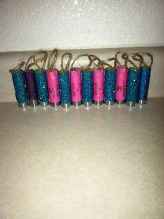 My glittered shotgun shell ornaments.