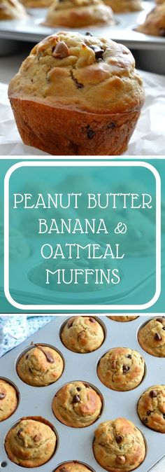 Sky high Peanut Butter, Banana and Oatmeal Muffins with chocolate and peanut butter chips scattered throughout the batter. One bowl, no mixer required.