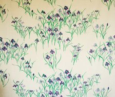 Kyoto Iris in Rich Purple/Oyster from Tania Vartan Hand Prints #fabric #linen #green #purple #floral