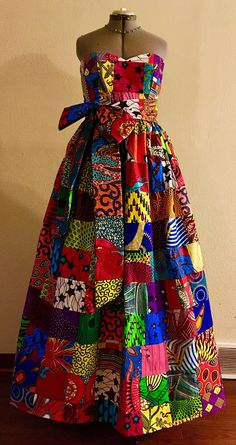 Items similar to Sweetheart Patchwork African Wax Print Maxi Dress With Pockets, Extra Long Sash, and Petticoat Underskirting Cotton on Etsy African Fashion Designers, African Print Fashion, African Wear Dresses, Ankara Gown Styles, African Traditional Dresses, Patchwork Dress, Special Occasion, Occasion Spéciale, Lovely Dresses