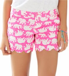 Lilly Pulitzer 5 Inch Buttercup Scallop Hem Short in Pop Pink Tush in Short- best elephant print EVER