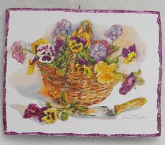 Basket Of Pansies Greeting Card Glittered Wood Easter/Christmas Ornament