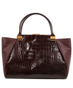 #LANVIN - Red Burgundy Trilogy Croceffect Leather Tote Bag
