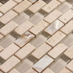 Ocean Mosaics Tiles & Accessories - Glass mixed with mother of pearl and stone | Agata Shell Mix Noce Beige