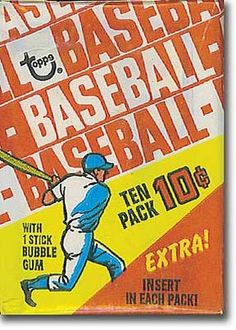 10 cent packs of baseball cards. 1970, with grey borders.
