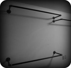 DIY Clothing Racks Made from Simple Black Iron Pipes! Great Way to Mount Your Own Cheap Clothing Racks and Set them up just the way that fits your needs best! / via Concrete NailPolish - Modern Closet Pipe Closet, Closet Bedroom, Closet Space, Clothes Rack Bedroom, Diy Bedroom, Diy Clothes Rack Pipe, Diy Clothes Hanging, Diy Clothes Rack Cheap, Diy Clothes Storage