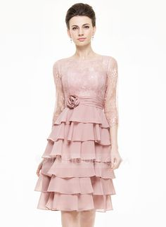 A-Line/Princess Scoop Neck Knee-Length Chiffon Lace Mother of the Bride Dress With Flower(s) Cascading Ruffles (008062547) - JJsHouse