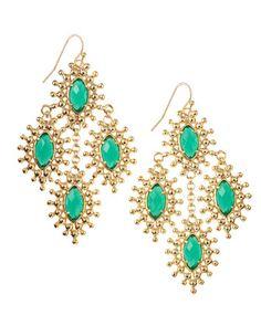 Kendra Scott - Febe Chandelier Earrings, Green Onyx - Last Call Scott Jewelry, I Love Jewelry, Fine Jewelry, Jewelry Design, Jewelry Box, Jewelry Accessories, Fashion Accessories, Fashion Jewelry, Chandelier Earrings