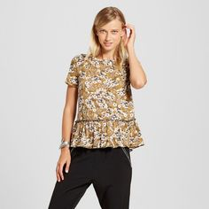 Women's Short Sleeve Peplum Printed Tee - Xhilaration (Juniors')